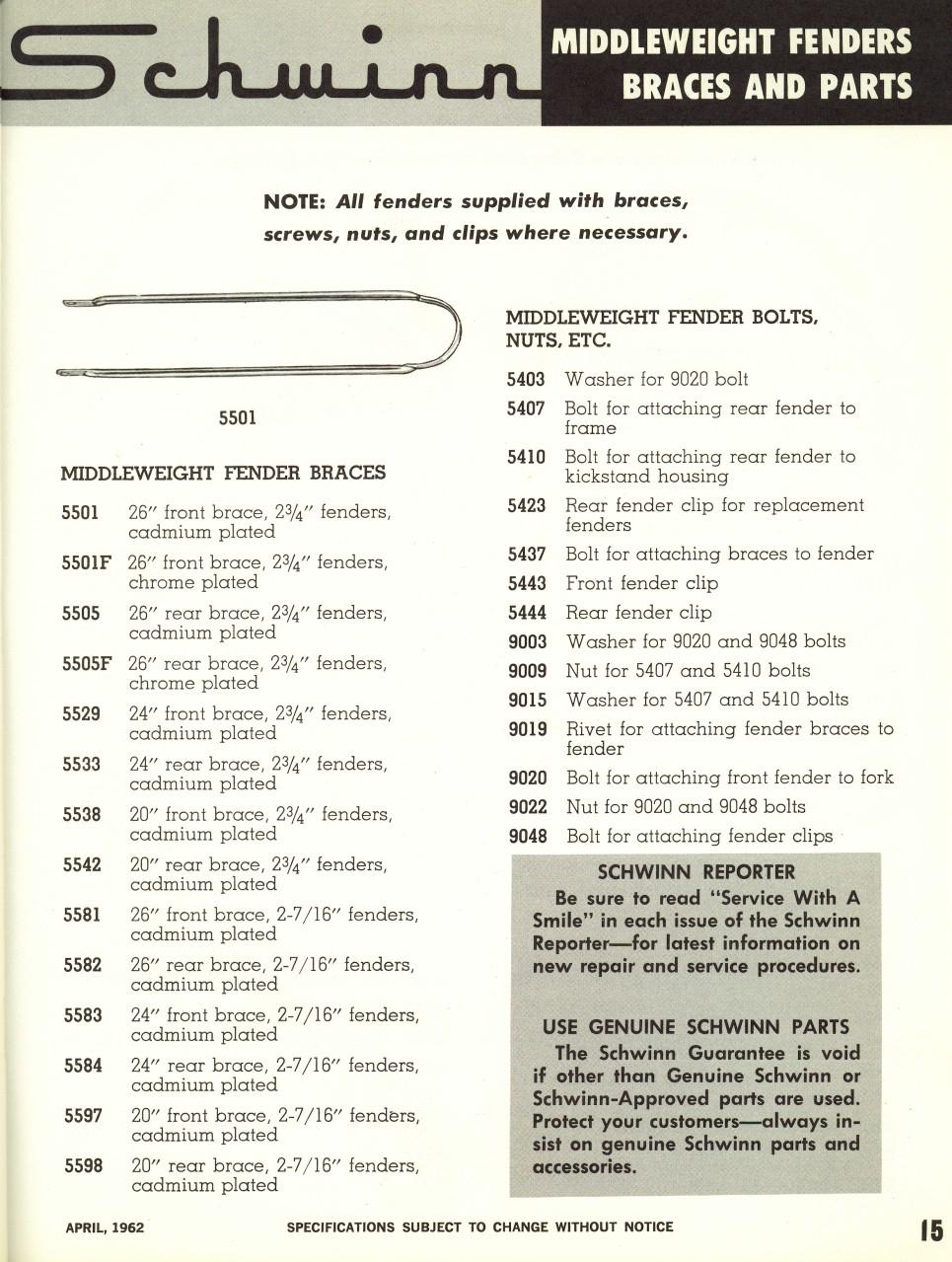 SLDB 1962 Parts & Accessories Catalog - pg 15