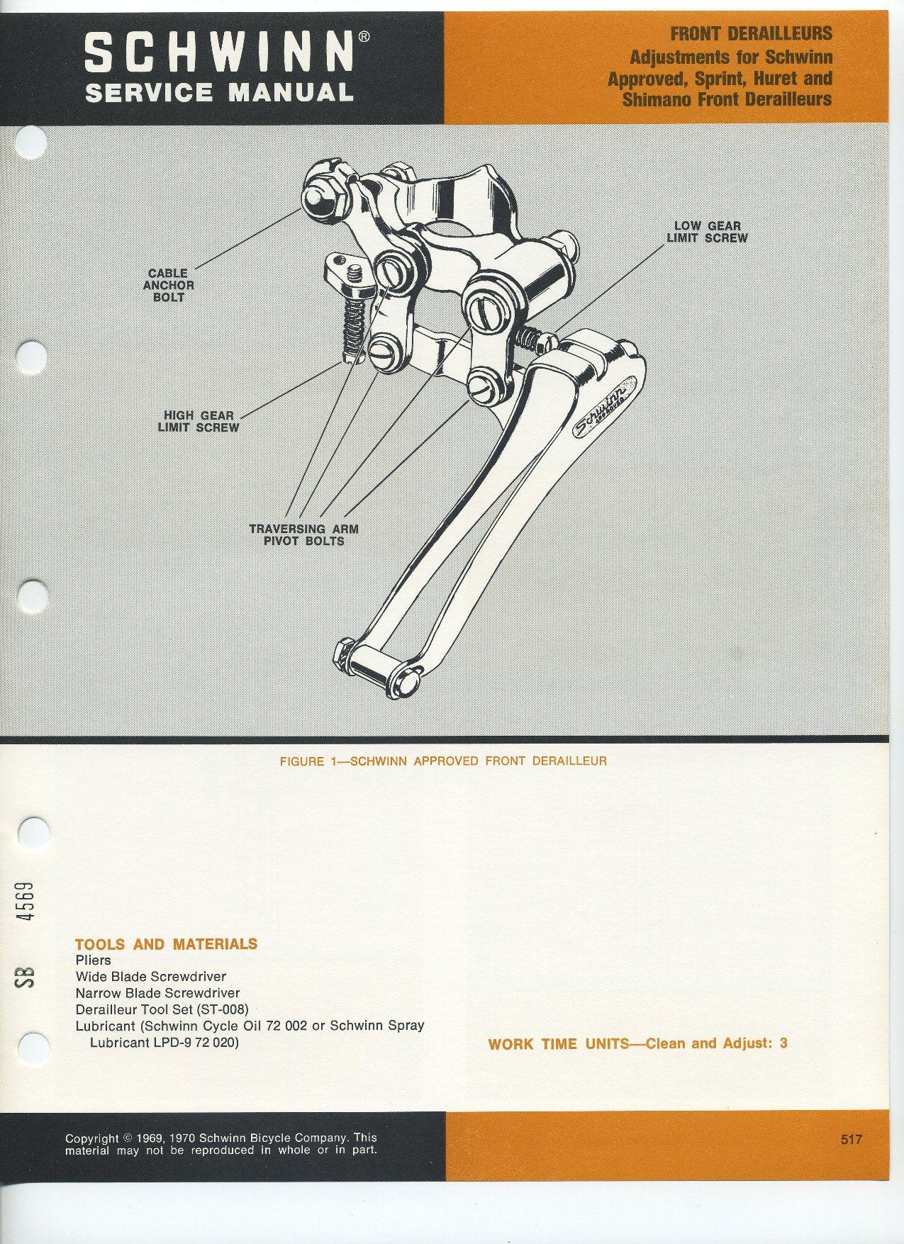 Shimano Repair Manual Toyota Celica A40 1978 Wiring Diagrams Repairmanuals Array Sldb 1969 70 Derailleurs Pg 517 Rh Schwinnbikeforum Com