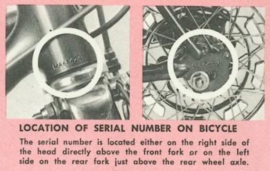 Schwinn Lightweight Data Book (Serial Numbers)